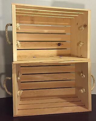 SET OF 2 LG Rustic Primitive Rough Stacking Wood Display Crates w/ ROPE HANDLES