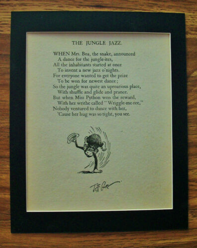 Print Dancing Monkey Jeff Cook Jungle Jazz Poem 1930s Bookplate Matted Comical