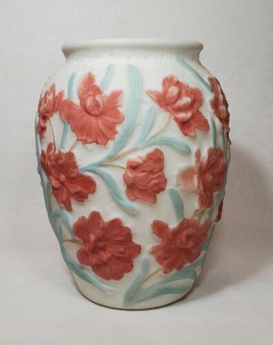 Phoenix Consolidated White Satin Vase Flower Sculpted Rim Carnation Design