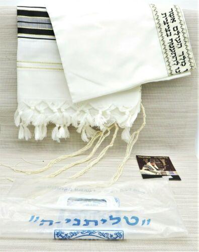 """TALITNIA Tallit Prayer Shawl Black & Gold 46""""x68"""" Made in Israel"""