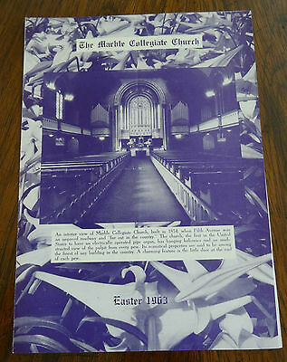 The Marble Collegiate Church Easter 1963 Program New York City