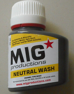 Aircraft Wash (Neutral Wash 75ml Bottle MIG Productions P222 For Vehicles)