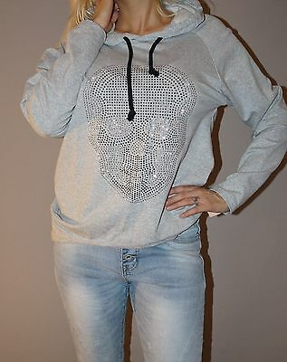 TOP ANGEBOT Kapuzen Shirt Blogger Skull Hoodie Tunika XS 34 36 S Grau Melange   ()