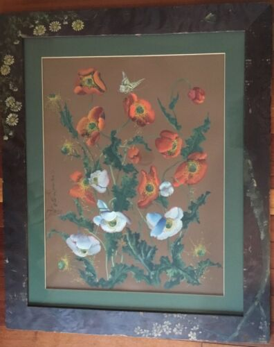 Antique Aesthetic Movement Watercolor Painting Listed Artist Toshio Aoki Flowers