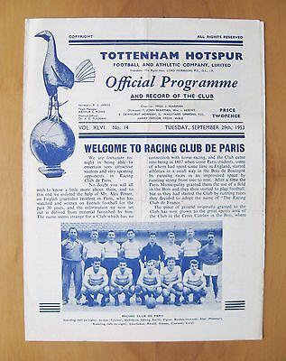 TOTTENHAM HOTSPUR v RACING CLUB DE PARIS Friendly 1953/1954 Good Cond Programme