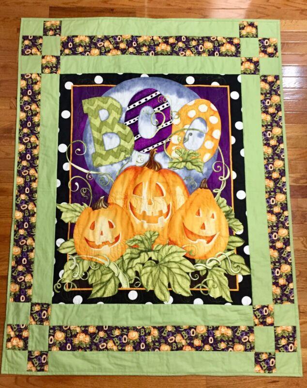 """New Handmade Quilt Blanket Throw 100% Cotton  Halloween Pumpkins Fall 50""""X 64"""""""