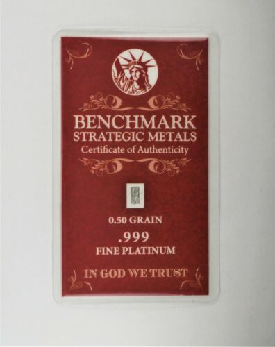 PLATINUM Pure .9995 PLATINUM approx.1/30 of a gram INVESTMENT BULLION BAR A16
