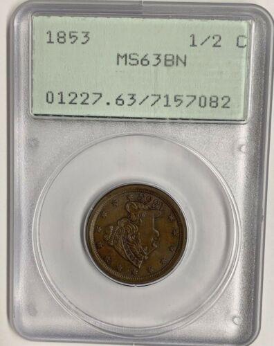 1853 US Half Cent PCGS MS63BN Rattler Generation 1 Holder