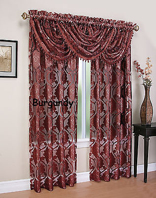MILAWI JACQUARD organza  SHEER WINDOW  set of 2 Panel & 3 valance BURGUNDY