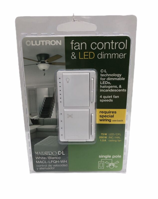 NEW Lutron Maestro Fan Control & LED Dimmer White MACL-LFQH-WH