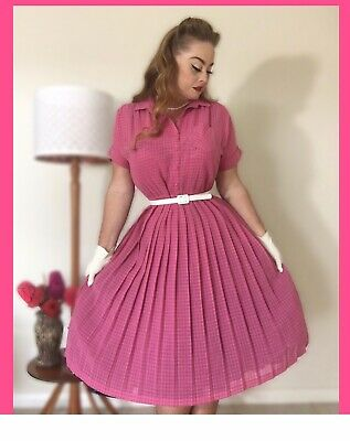 80s Dresses | Casual to Party Dresses VINTAGE 80's Do 50's NOEL WELLS Retro SHIRTWAIST SWING DRESS Housewife Pinup 16 $41.19 AT vintagedancer.com