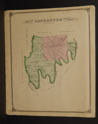 Pennsylvania Lancaster County Map Lancaster Township 1875 Dbl Side Y15#23
