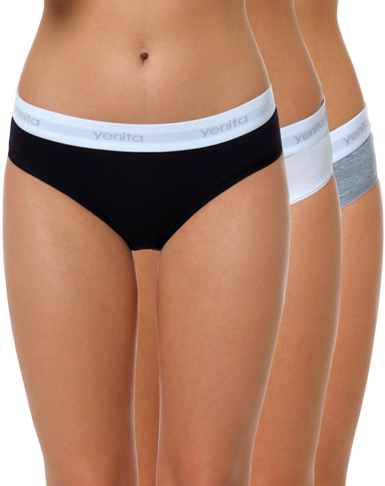 3er Set Yenita® Damen Bikini-Slip Unterwäsche Slips Hüftslip Unterhose