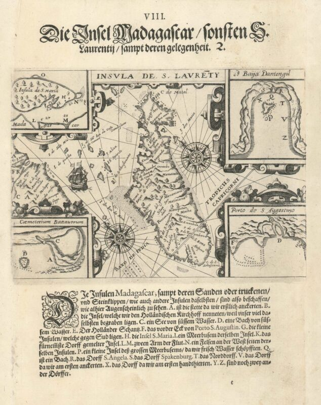 1599 De Bry Map of Madagascar