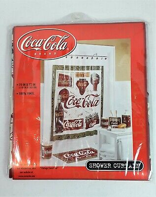 "Coca-Cola Shower Curtain 70"" X 72"" Vintage Coca Cola 100% Vinyl New In Pkg"