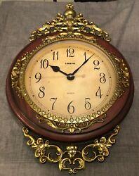 NWOT Antique Linseng Wooden Pendulum Brown Wall Clock