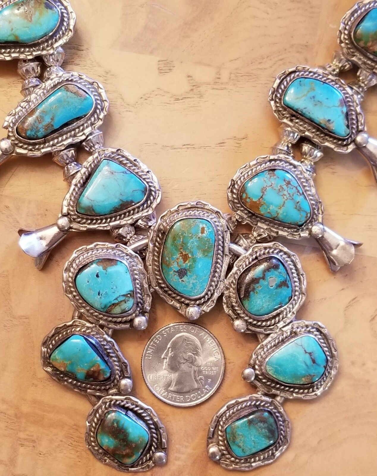 """Native American Old Pawn Turquoise Sterling Squash Blossom Necklace 26"""" Vintage"""