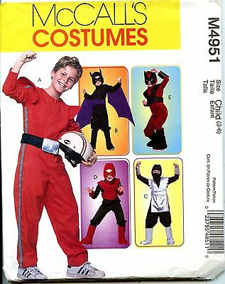 Ninja, Race Driver, Real Bat & More - McCalls Sewing Pattern - Sizes 3-6 -  NEW