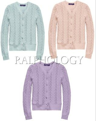 $1,390 Ralph Lauren Collection Cable Pointelle Cashmere Knit Cardigan Sweater