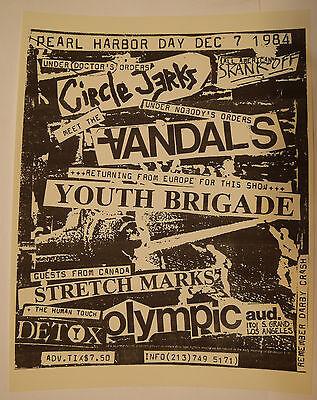CIRCLE JERKS The Vandal's YOUTH BRIGADE 80's Punk Rock Flyer Handbill