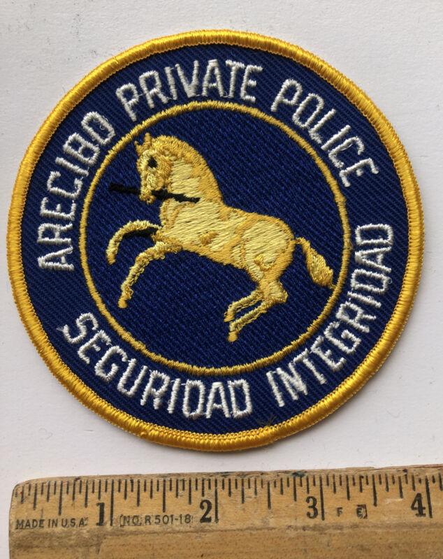 Vintage Arecibo Puerto Rico Private Police Department Patch Seguridad Integridad
