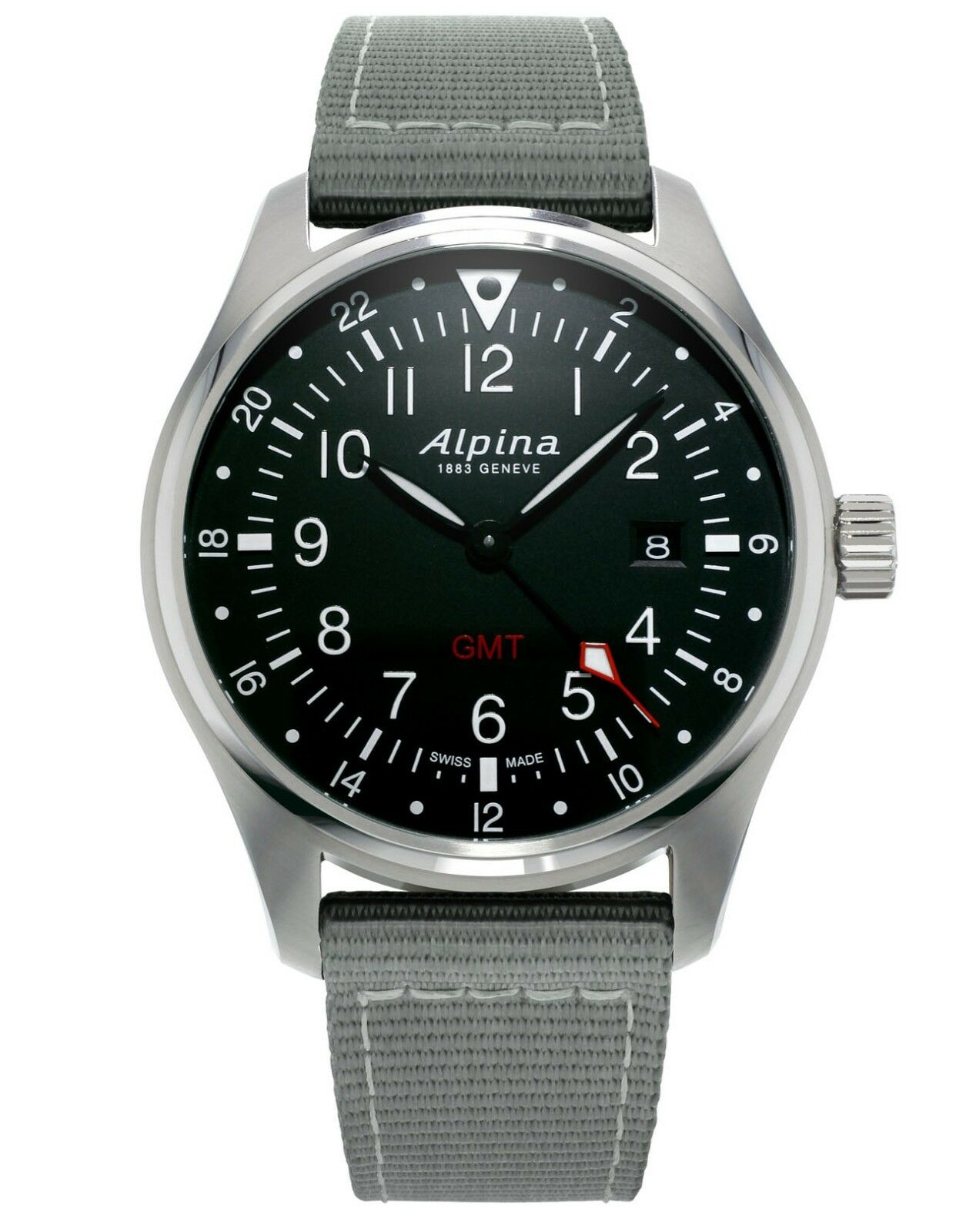Alpina Startimer Men's AL-247B4S6 Quartz Gray Nylon Strap 42mm Watch