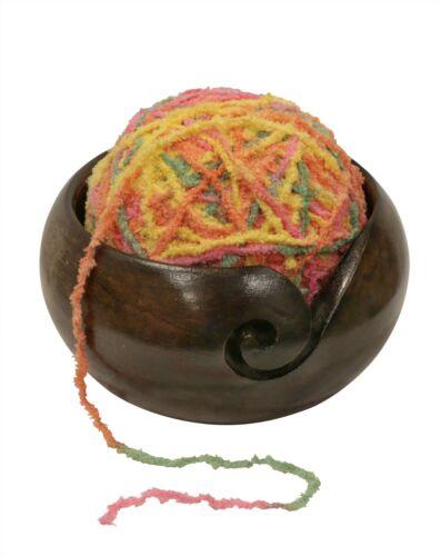 """Wooden Yarn Bowl  -  Mango Wood Dark Yarn Bowl 5"""""""