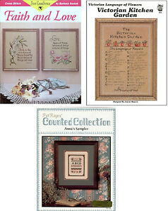 Lot of 3 cross stitch leaflets, Sampler,Victorian Garden, Faith Love, Retail $12