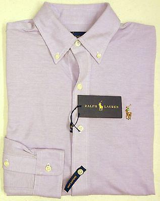 NWT $98 Polo Ralph Lauren LS KNIT Mesh Oxford Shirt Men Purple S  L XL NEW  Mesh-oxford