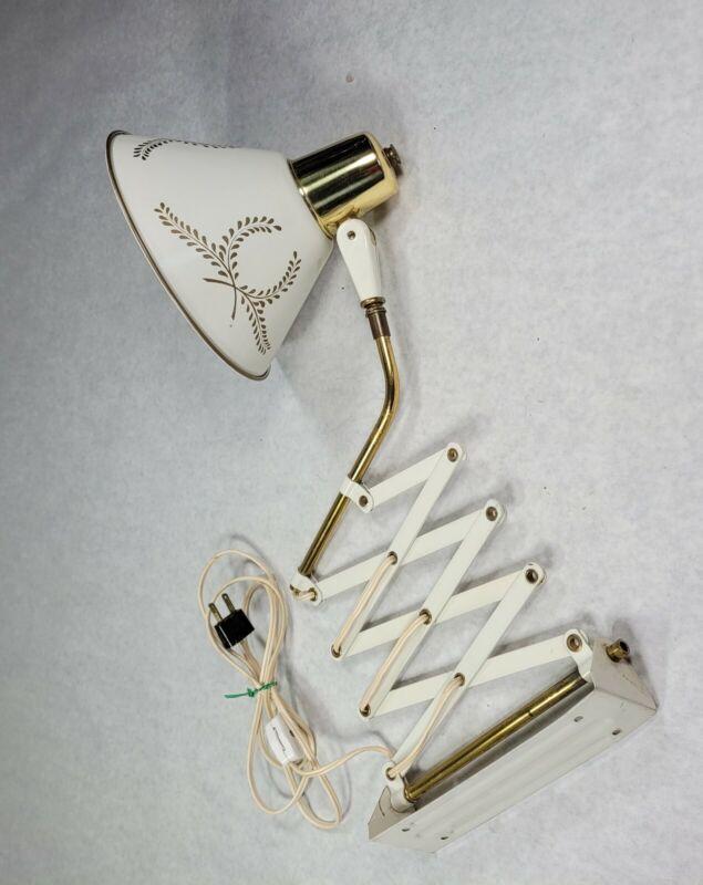 Vintage Accordion Scissor Wall Mount Lamp Light Sconce Retractable MCM Works