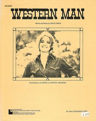 "LA COSTA ""WESTERN MAN"" SHEET MUSIC-PIANO/VOCAL/GUITAR/CHORDS-1975-NEW ON SALE!!"