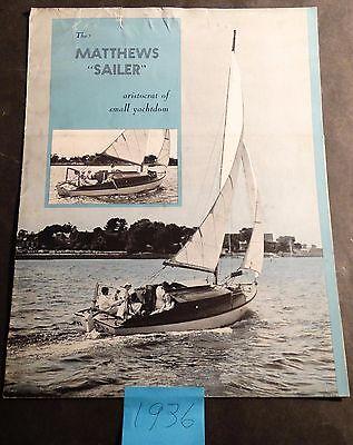 VINTAGE 1936 MATTHEWS SAILER YACHT SALES BROCHURE POSTER SIZE 4 PAGES  (922)