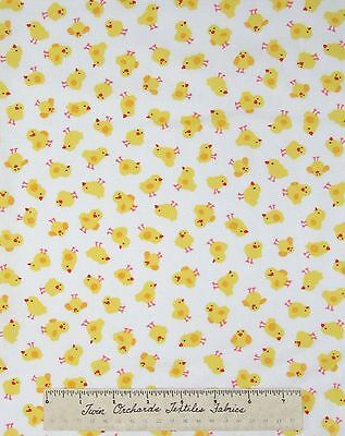 """Chick Fabric - Small Yellow Bird Toss on White - Timeless Treasures Cotton 31"""""""