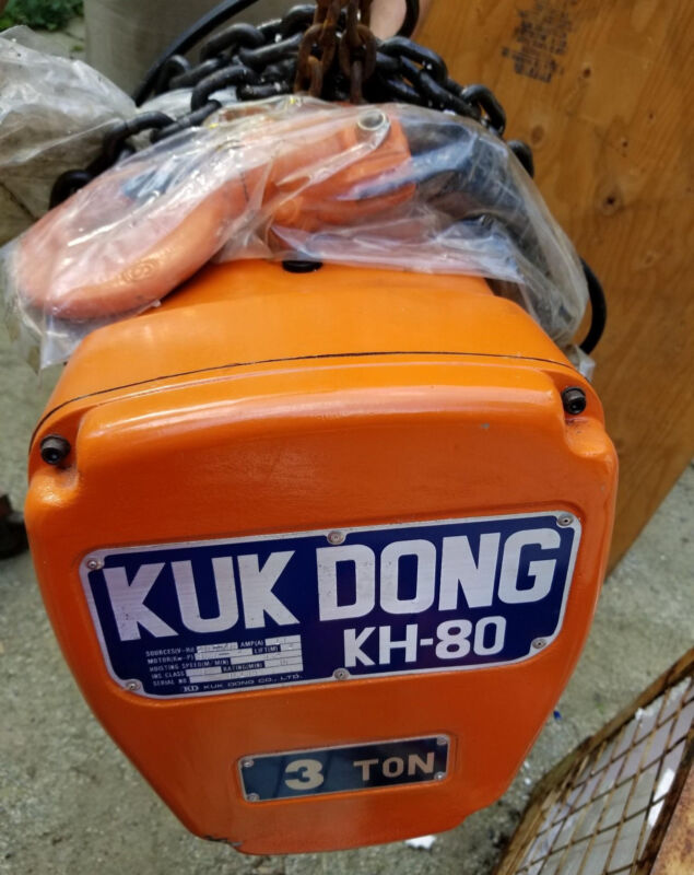 New Kuk Dong Kh-80 3 Ton Electric Chain Hoist 3phase 200v 4m Lift