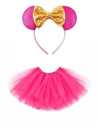 Mini Maus Mäuschen-Set Kinder Kostüm Tütü Haarreif  Glitzer Ohren 2-tlg Pink