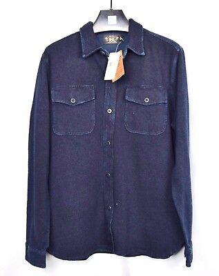 MSRP: $265 RRL Ralph Lauren Indigo Dyed Shirt Navy Blue Size M Medium Workshirt
