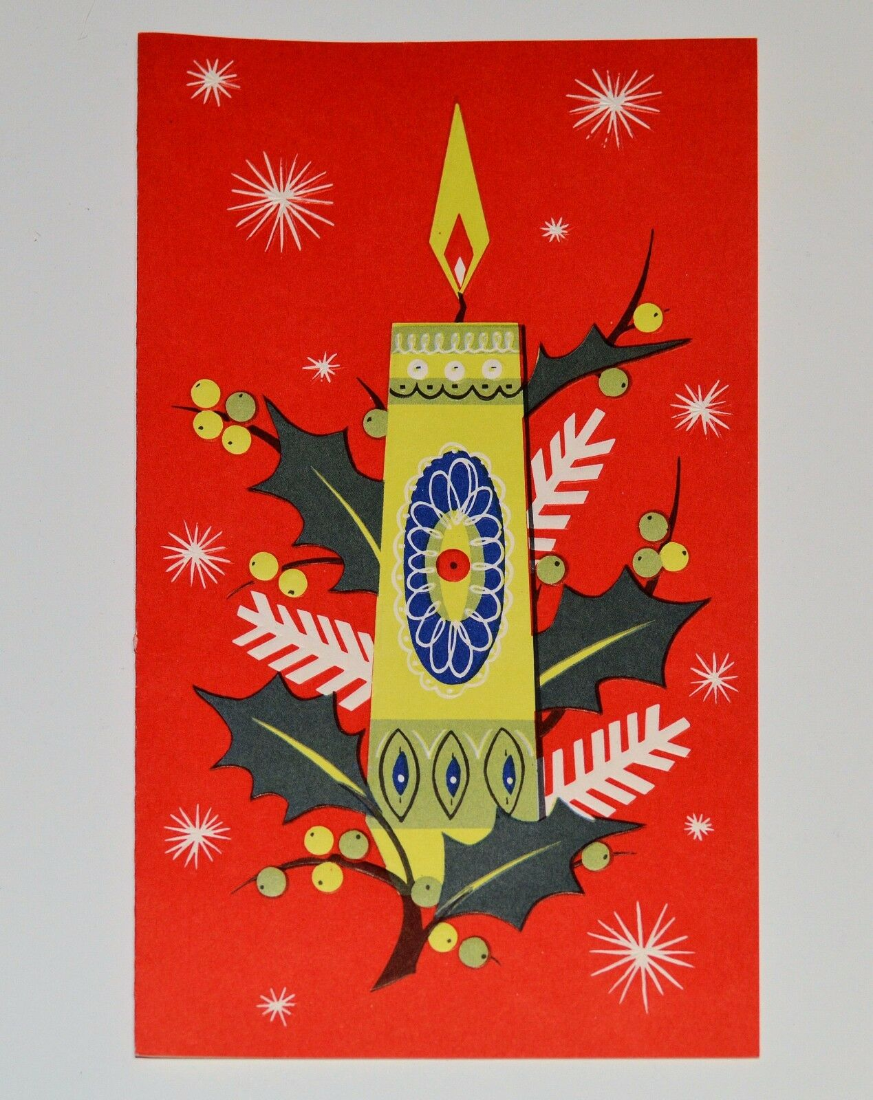 Vintage unused art deco christmas card embossed candle mid century 8 cad picclick ca - Deco noel vintage ...