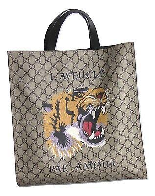 GUCCI Tiger Face GG Supreme Monogram Canvas Shopper Tote Bag AUTHENTIC