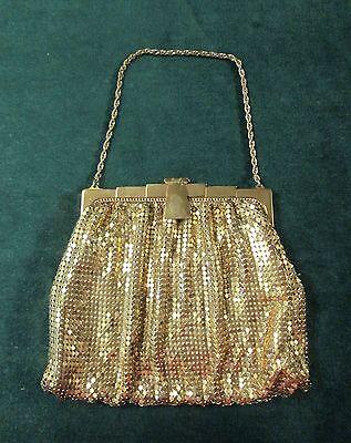 Vintage WHITING & DAVIS Gold Mesh Evening Bag Elegant Art Deco Styling