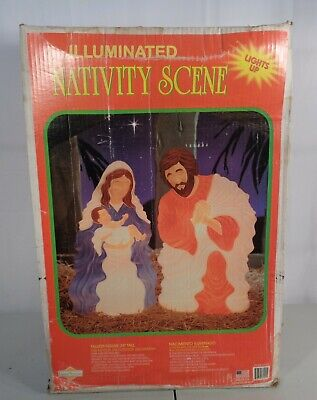 VTG Grand Venture Nativity Set Joseph Mary With Jesus Lighted Blow Mold W Box
