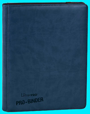 ULTRA PRO 9 POCKET PREMIUM LEATHERETTE BLUE BINDER STORAGE 360 Card 20 Pages