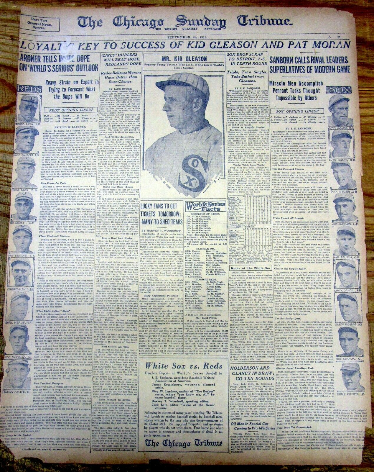 1919 newspaper world series portrait chicago white sox cincinnati reds black sox