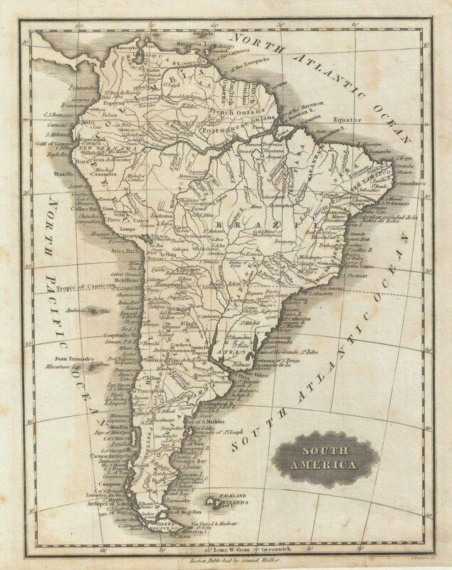 1828 Malte-Brun Map of South America
