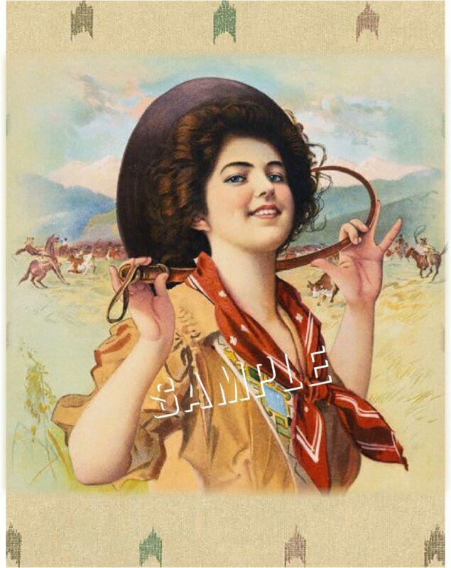 VINTAGE 1909 ANTIQUE COWGIRL HORSE *CANVAS* WESTERN ART