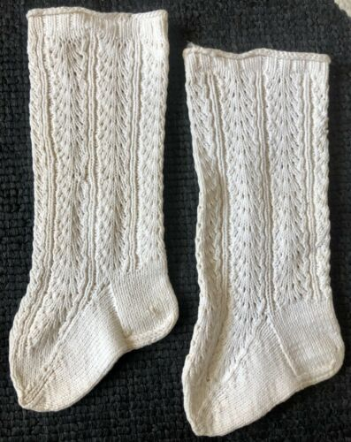 ANTIQUE HAND KNITTED WHITE COTTON BABY SOCKS