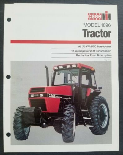 Case - IH Model 1896 Tractor Dealer Sales Spec Sheet Brochure