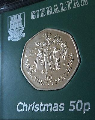 1995 gibraltar rare christmas 50p coin bu penguin star of bethlehem in display