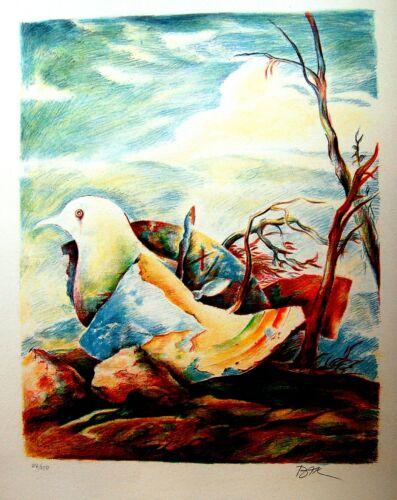 SAMUEL BAK Jewish HAND SIGNED Art LITHOGRAPH Surrealist HEBREW Judaica HOLOCAUST