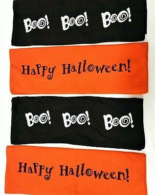 TAG Brand NEW Halloween Kitchen Dish Towel Set 4 pc Large Sz Happy Halloween Boo