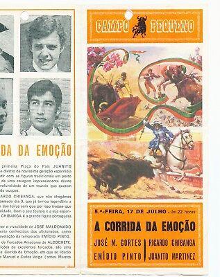 Corrida Stierkampf-Prospekt 1975 Lissabon Portugal, Campo Pequeno Lisboa